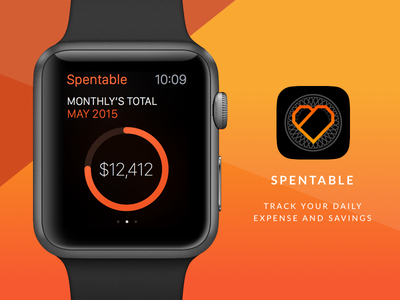 Spentable gradient minimal wearables apple watch smartwatch ux ui clean app design