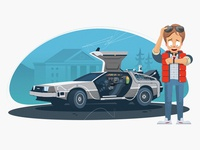 Back to the Future back to the future movie film cinema background design flux capacitor auto car cartoon hill valley illustrator vector illustration marty mcfly machine time future delorean