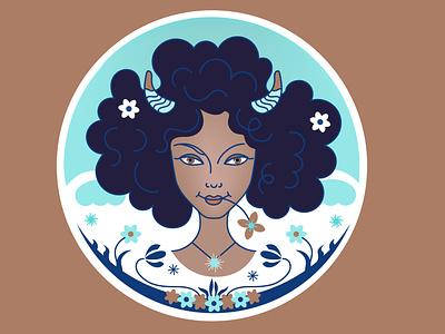 Aries Horoscope 2020 magazine vector illustration constellation head field portrait flower hair shampoo face logo young woman zodiac black girl horoscope aries
