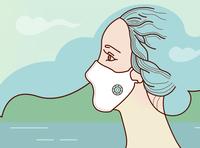 Female profile in coronavirus mask cover