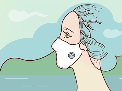 Female profile in coronavirus mask cover cover girl coronavirus сovid-19 prevention isolation mask landscape woman illustration vector