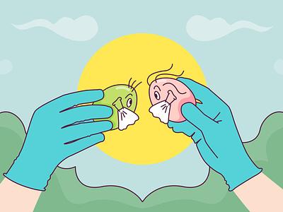 Covid Easter Eggs design vector illustration spring eggs