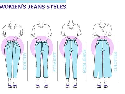 Set of womens Jeans styles styles magazine woman girl design vector illustration