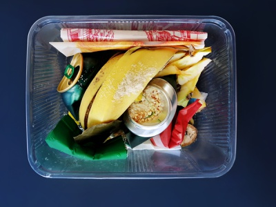 Plastic box  food waste  leftovers garbage ensemble collage ensemble recycle container dirty product environment peel used package trash peelings recycling