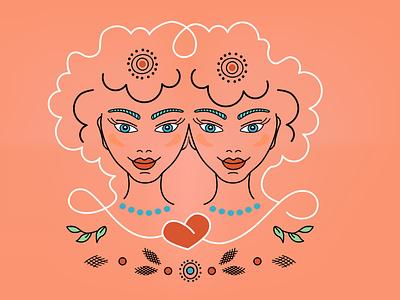 Horo Gemini Girls Twins horor twins horoscope logo icon woman girl vector illustration