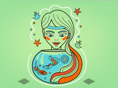 Horo Pisces Girl Fishlover horoscope fishlover lover fish icon woman girl vector illustration