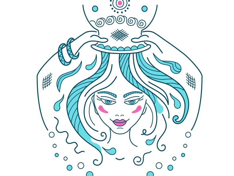Horoscope Aquarius Girl aquarius zodiac horoscope design branding magazine woman icon logo girl illustration vector
