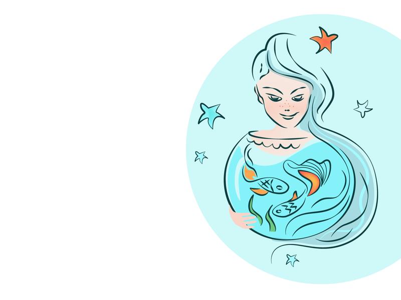 Buying fish, make a wish fish woman logo icon girl illustration make a wish buying fish pet pet shop