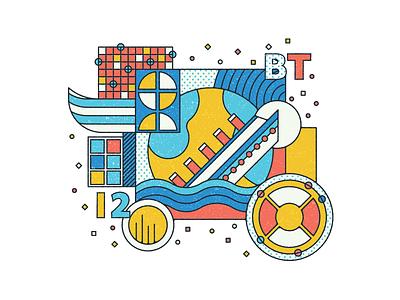 BT - Personal Project ship titanic components graphics artists digital design vector color illustrator illustration stamp artist