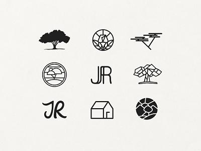 JR Logo Concepts horizon logos blackandwhite tent jr digital vector branding logodesign design trees tree concept logo