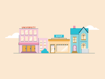 Little Town outlines buildings vector design illustration