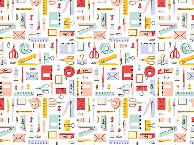 Stationery Pattern pastels stationery supplies pattern design patterns stationery design illustration