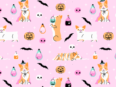 Corgi Halloween Pattern vector design dog pattern design dog illustration dogs doodle illustration vector art halloween costume halloween pattern corgi