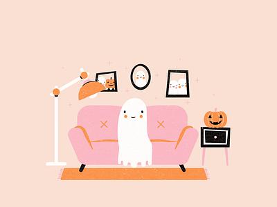 Drawlloween Day 4: Haunted Room illustrator vector doodle ghost halloween illustrations inktober2020 inktober vectober2020 vectober design illustration