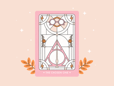 The Chosen One tarot card tarot inktober vector illustration witchcraft hogwarts drawlloween inktober2020 vectober2020 vectober magic wizarding world harrypotter