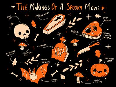 The Makings of a Horror Movie doodles halloween design halloween october vectober spooky horror art haunted horror movie vector illustration