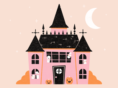 Drawloween Prompt 11: Haunted drawlloween2020 ghost illustration spooky house haunted house ghosts vectober2020 vectober halloween inktober2020 inktober vector illustration
