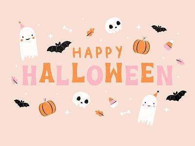 Happy Halloween spooky spooky season drawlloween vectober2020 inktober inktober2020 illustration vector halloween design halloween