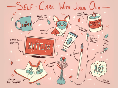 Self-Care Guide self care netflix procreate art doodle candle flowers relaxation self love selfcare