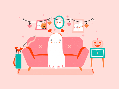 Ghostie Valentine ghost valentines day halloween design vector illustration