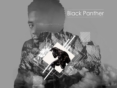Black Panther Graphic amateur art design mcu marvelcomics graphicdesign doubleexposure photoshop