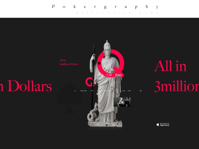 Pokergraphy - Millionaire Poker Game typography millionaire all in game app dollars money poker chips poker card poker