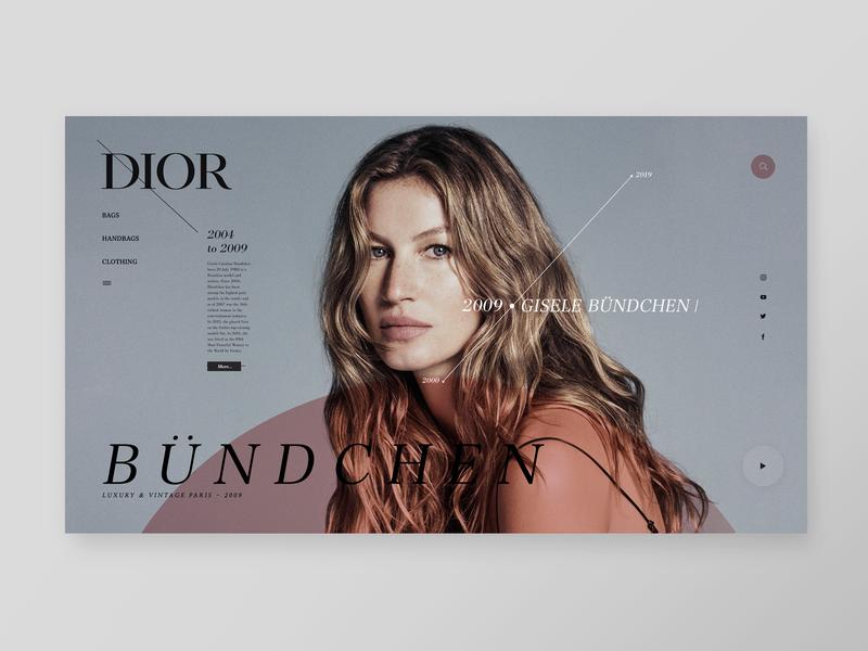 Dior - Timeline Models Gallery (Bündchen 2004-2009) simple design fashion art fashion timeline web minimal website design gisele bündchen dior