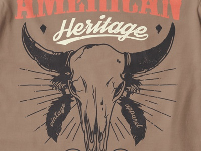 T Shirt Design 1496 american heritage skull animal skull vintage font native american indian