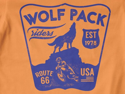 T Shirt Design 1497 wolf pack biker speed race rider usa badge