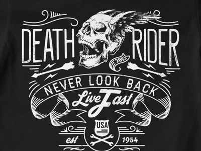 T Shirt Design 1499 skull wings usa ribbon typography biker print t-shirt