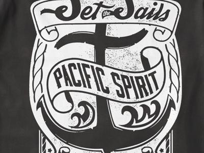 T Shirt Design 1504 typography anchor pacific waves sailor print tattoo print t-shirt template