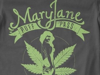 T Shirt Design 1039 vector print apparel illustration vector graphics mary jane puff pass weed marijuana smoke green pin-up
