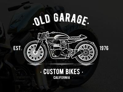 Old Garage - Custom Bikes custom project illustration line design motorcycle motor bike logo
