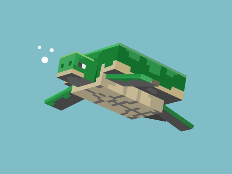Minecraft Turtle design art gaming graphic artist game art illustration design graphic design vector illustration minecraft fanart design graphicart