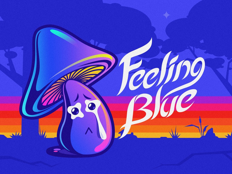Feeling Blue blue sticker mushroom illustration
