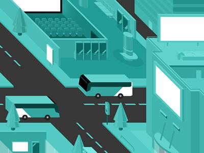 City Of Turquoise turquoise illustration city