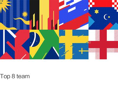 Top 8 team england sweden belgium brazil croatia russia france uruguay cup world fifa