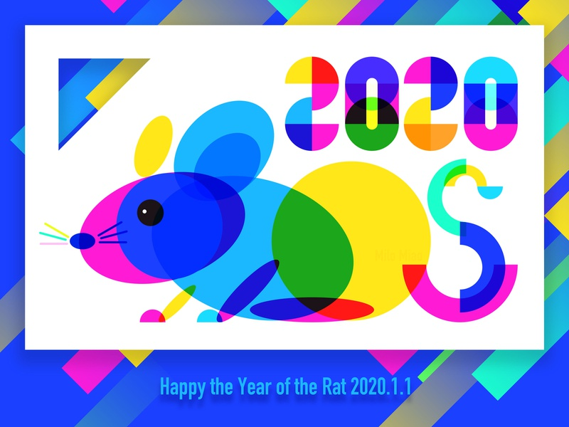 the Year of the Rat rat colourful 2020 illustration