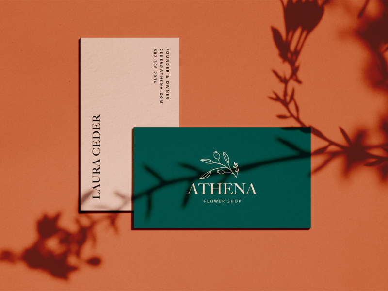 Athena Branding (1) business card design business card mockup business cards business card logo minimal color print typography type graphic design design branding