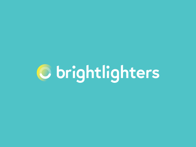 Brightlighters Logo innovation facility bright happy blue identity logo smile branding