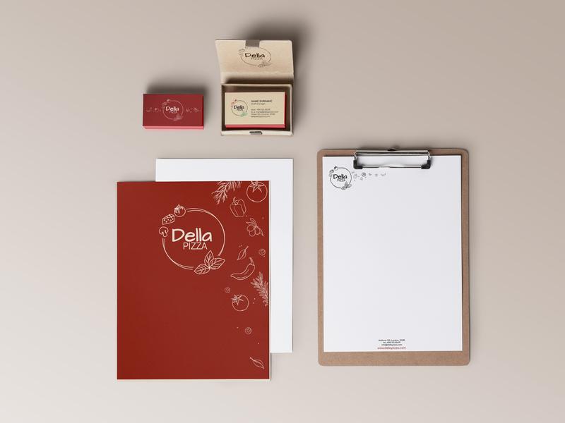 Pizza branding business card paper mock up adobe illustrator
