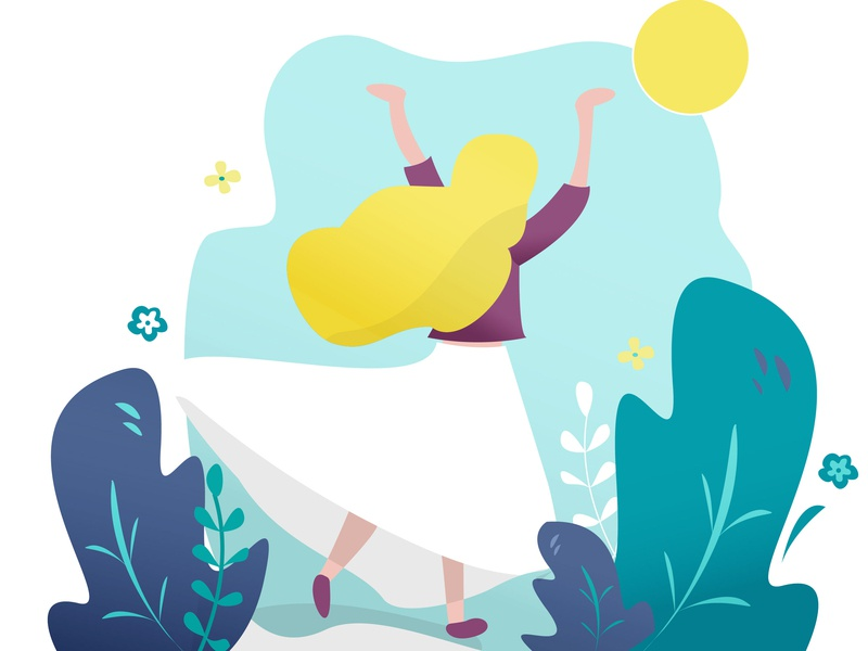 Flat girl Illustration 2d flat  design girl first design adobe illustrator