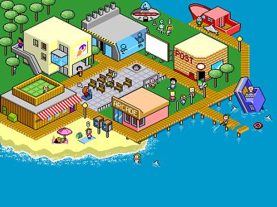 Pixel Art town '2001 vector comic character creation illustration pixel pixelart
