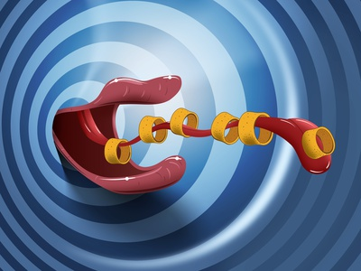 Hulahoops mouth comic food vector illustration