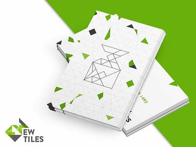 EW Tiles branding and stationary geometric art business card design green vector icon typography branding design brand logo