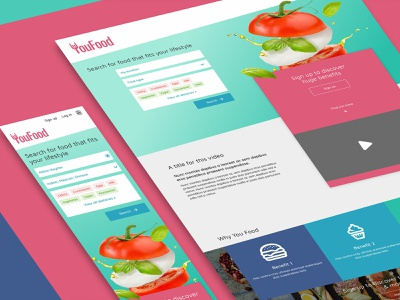 YouFood search bar color bright color design responsive wireframe ui food colour