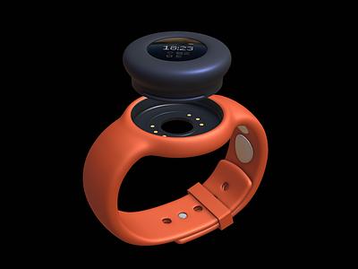 Microsoft S Emma watch concept sketchfab waterproof industrialdesign health design 3d blender watch instrument