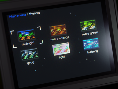 Oscilloscope themes screen
