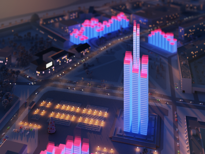 Arkhangelsk architecture buildings stylized chart cycles render city sunset lowpoly 3d blender arkhangels