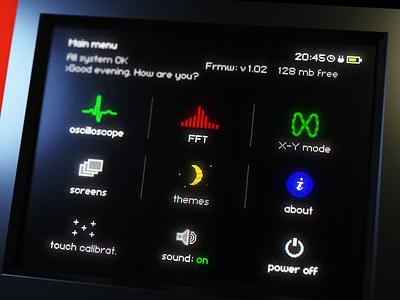 Oscilloscope menu instrument oscilloscope ux render concept screen gui design 3d blender